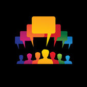 Concept vector graphic- leader & workers talking ( speech bubble