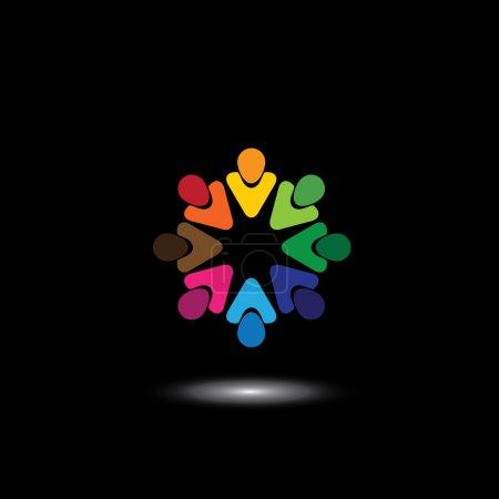 coloridos empleados y ejecutivos juntos en reuniones - vector gr