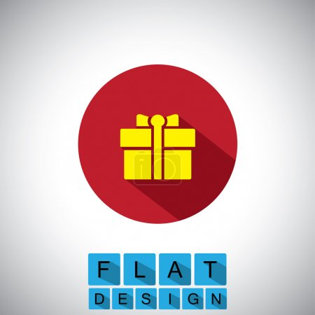 flat design icon of gift, bonus or reward - vector graphic