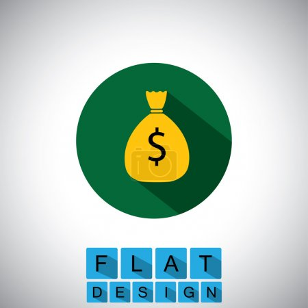 flat design icon of cash bag, saving dollars - vector graphic