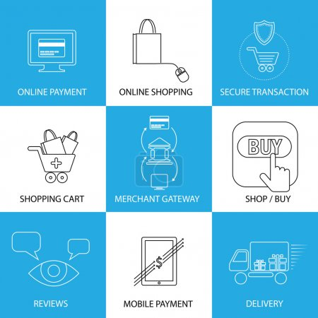 flat line icons on shopping, e-commerce, m-commerce - concept ve