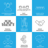 flat line icons of management of finance sales service - conce