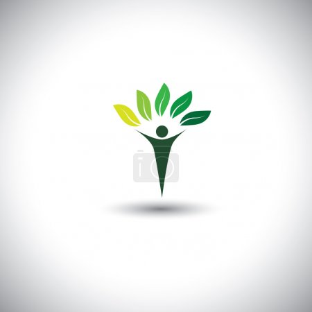 Illustration for People & nature balance - eco lifestyle concept vector icon. This graphic also represents harmony, nature conservation, sustainable development, natural balance, development, healthy growth - Royalty Free Image