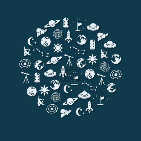 Illustration pour Icônes spatiales en cercle - image libre de droit