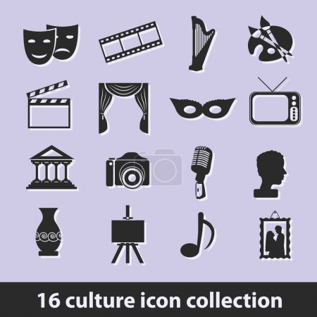 Illustration for 16 culture icon collection - Royalty Free Image