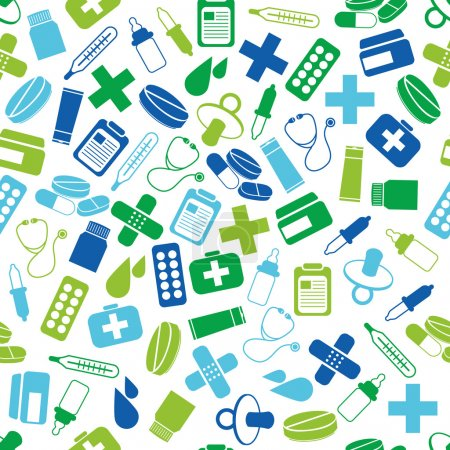 Illustration for Pharmacy seamless pattern - Royalty Free Image