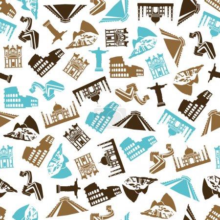 Seven Wonders of the World seamless pattern