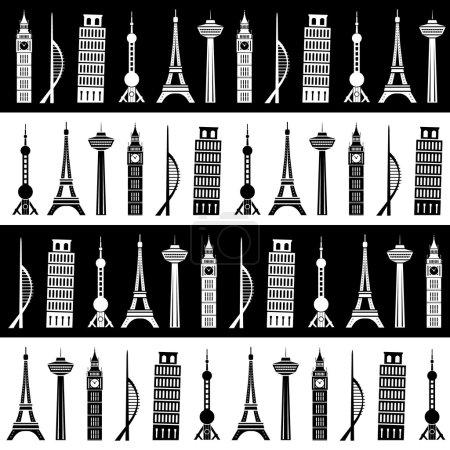 world towers seamless pattern