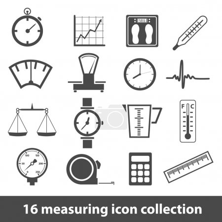 Illustration for 16 measuring icon collection - Royalty Free Image
