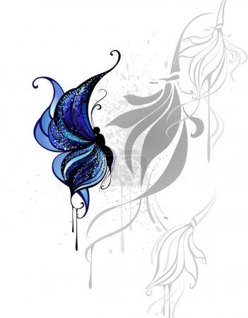Illustration pour Papillon dessiné avec de la peinture bleu foncé et noir sur un fond blanc avec les fleurs stylisées gris . - image libre de droit