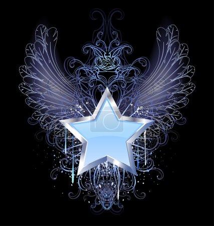 Illustration pour Bleu, silver star avec contour d'ailes ange, décoré avec une goutte de peinture bleue et un motif fantaisie - image libre de droit