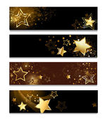 Four horizontal banner with gold stars on a dark background