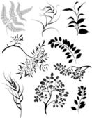 stylized silhouettes of branches and decorative plants