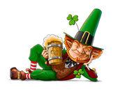 Elf skřítek s pivem pro den svatého Patrika