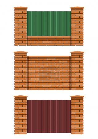 Illustration pour Jeu de clôture en brique d'illustration vectorielle EPS10. Objets transparents et masques d'opacité utilisés pour le dessin d'ombres et de lumières - image libre de droit