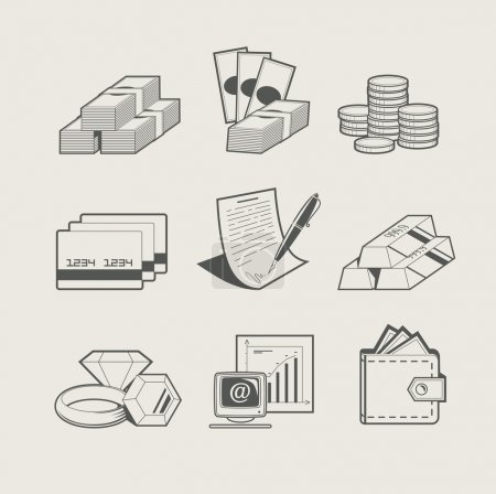 Money and jewellery set of icon