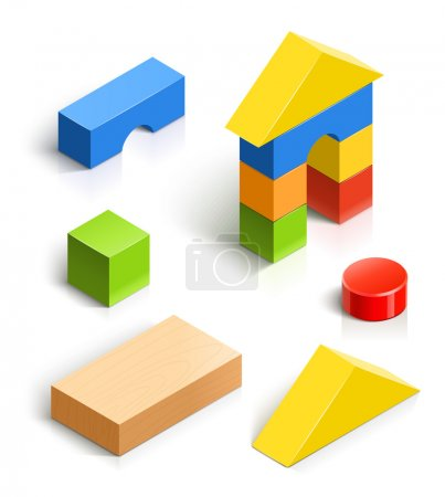 Brick house. wooden toy vector illustration isolat...