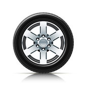 Car wheel vector illustration isolated on white background EPS10 Transparent objects and opacity masks used for shadows and lights drawing