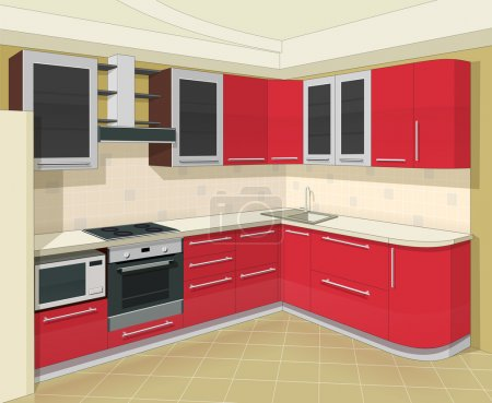 Illustration for Kitchen interior with furniture vector illustration EPS10. Transparent objects and opacity masks used for shadows and lights drawing - Royalty Free Image