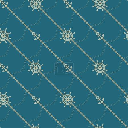 Anchor, wheel and chain. Seamless marine pattern.