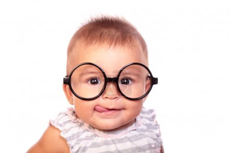 Photo for Portrait of a beautiful baby with glasses - Royalty Free Image