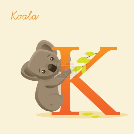 Animal alphabet with koala, vector illustration...