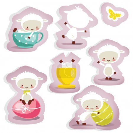 Cute easter stickers isolated