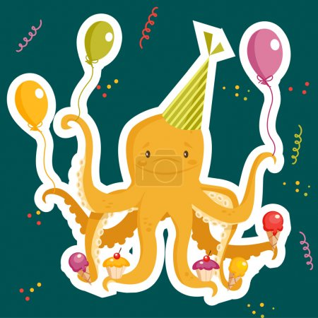 Illustration for Birthday party card, vector illustration - Royalty Free Image