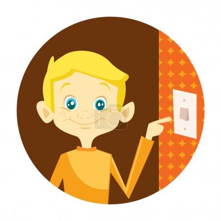 Illustration for Kid turning off the light vector illustration - Royalty Free Image