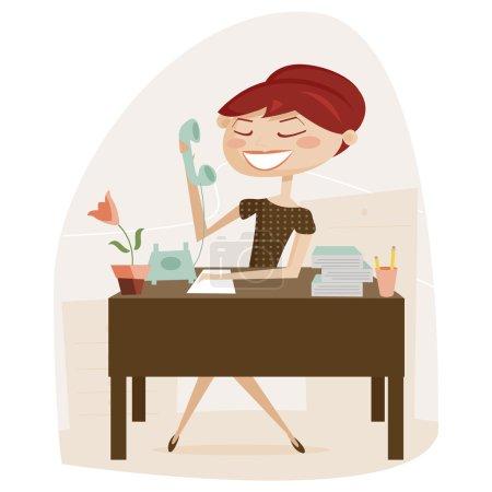 Illustration pour Femme rétro travaillant, illustration vectorielle - image libre de droit