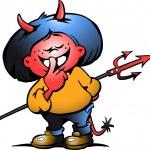 Hand-drawn Vector illustration of an Cute Devil Gi...