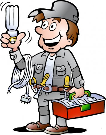 Illustration pour Illustration vectorielle dessinée à la main d'un homme à tout faire électricien heureux tenant une ampoule économiseuse d'énergie - image libre de droit