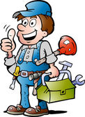 Hand-drawn Vector illustration of an happy Plumber Handyman giving thumb up