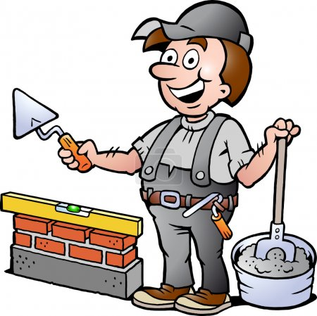 Hand-drawn Vector illustration of an Happy Bricklayer Handyman