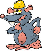 Hand-drawn Vector illustration of an wondering Rat with helmet