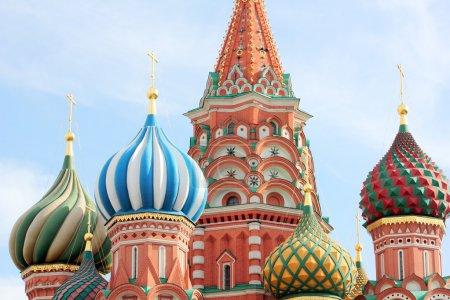 Photo pour Dôme de la cathédrale Saint-Basile sur la Place Rouge à Moscou - image libre de droit