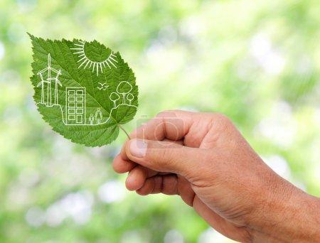 Photo pour La main tenant le concept de ville verte, couper les feuilles des plantes - image libre de droit