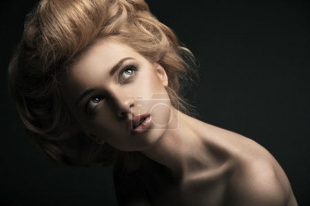 High fashion woman with abstract hair style