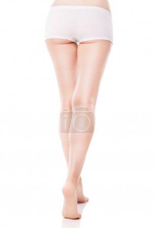 Rear view of beautiful caucasian woman