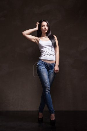 Sexy female model wearing pair of pants