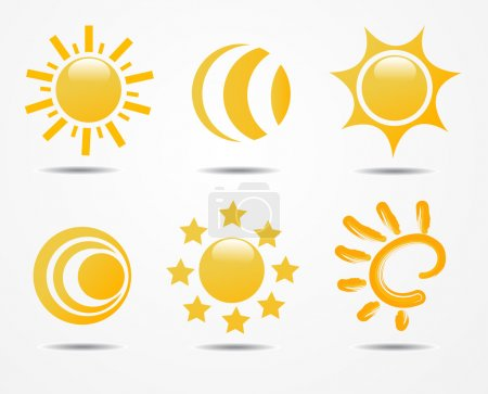 Photo for Set of sun icons, isolated on white background - Royalty Free Image
