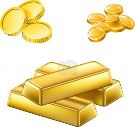 Vector illustration of a shiny stack of gold bars and gold coins on a white background