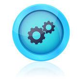 Tlačítko modré vektor s obrábění ozubených kol