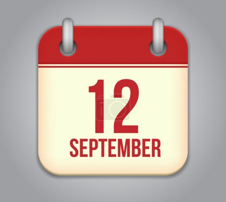 Vector calendar app icon. 12 september
