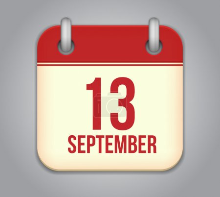 Vector calendar app icon. 13 september
