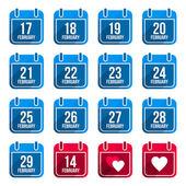 February vector flat calendar icons with long shadow Calendar Days Of Year Set 10