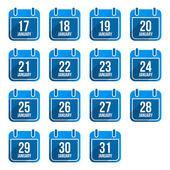 January vector flat calendar icons with long shadow Calendar Days Of Year Set 8