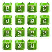 March vector flat calendar icons with long shadow Calendar Days Of Year Set 12