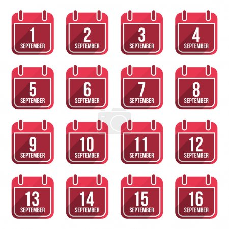 September vector flat calendar icons. Days Of Year Set 23