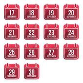 September vector flat calendar icons Days Of Year Set 24